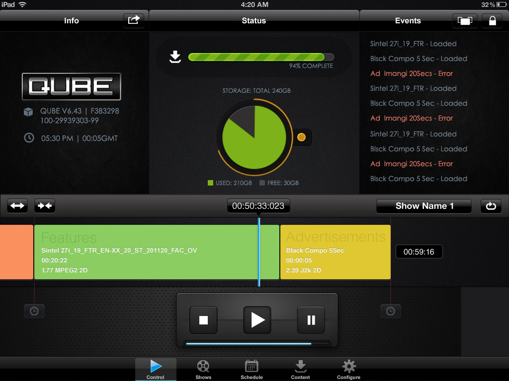 Qube Cinema User Interface on iPad